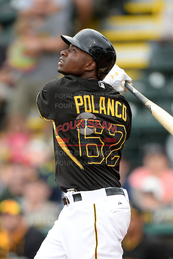 Outfielder Gregory Polanco (62) of the Pittsburgh Pirates during a spring training game against the New York Yankees on February 26, 2014 at McKechnie Field in Bradenton, Florida.  Pittsburgh defeated New York 6-5.  (Mike Janes/Four Seam Images)