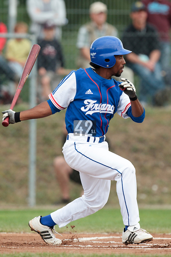 24 july 2010: Felix Brown of France is seen at bat during Netherlands 10-0 victory over France, in day 2 of the 2010 European Championship Seniors, in Neuenburg, Germany.