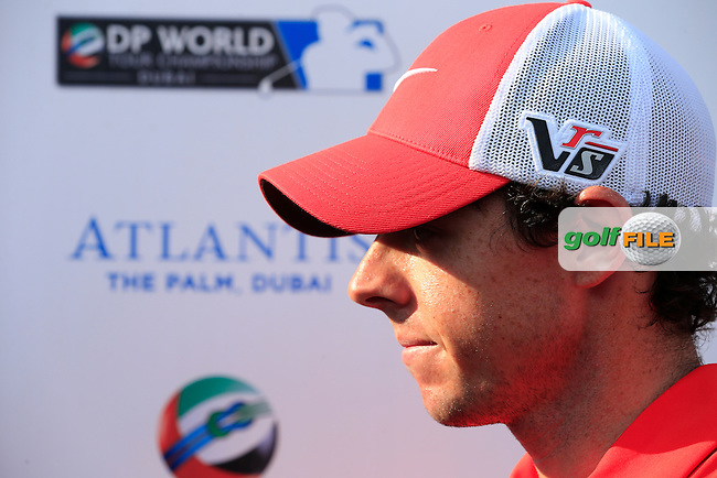 Rory McIlroy (NIR) after finishing round 2 of the season ending DP World, Tour Championship, Dubai, UAE.<br /> Picture: Denise Cleary www.golffile.ie