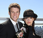 """Holding new CD - Claybourne Elder & Melissa van der Schyff (Bonnie & Clyde's """"Buck & Blanche""""  at Promo shoot for the annual Broadway Extravaganza in honor of Jane Elissa's Candidacy for Leukemia & Lymphoma Society Woman of the Year and for Hats for Health on April 23, 2012 at the Marriott Marquis Hotel, New York City, New York. In the shoot are Days of Our Lives Louise Sorel """"Vivian"""", Broadway Bonnie and Clyde's Melissa VanDer Schyff and Clay Elder, Dale Badway (Creator Fame-Wall) and host for the upcoming event, Corey Brunish (producer of Bonnie & Clyde) and Billy Freda, singer songwriter Missy Modell (Photo by Sue Coflin/Max Photos)"""