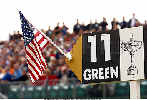 Detail view of the sign to the 11th green, 34th Ryder Cup, The Belfry, Sutton Coldfield, 020928. Photo: Glyn Kirk/Action Plus....2002.details ident idents.signposts signpost post signs.American flag.stars and stripes