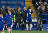 Chelsea Manager talks to Kurt Zouma of Chelsea during a break in play during the The Checkatrade Trophy match between Chelsea U23 and Oxford United at Stamford Bridge, London, England on 8 November 2016. Photo by Andy Rowland.