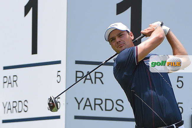 Martin Kaymer (GER) watches his tee shot on 1 during round 1 of the 2019 Charles Schwab Challenge, Colonial Country Club, Ft. Worth, Texas,  USA. 5/23/2019.<br /> Picture: Golffile | Ken Murray<br /> <br /> All photo usage must carry mandatory copyright credit (© Golffile | Ken Murray)