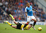 James Tavernier evades the challenge of Jackson Longridge