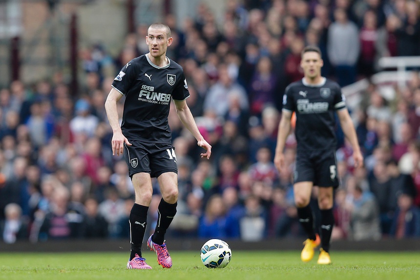Burnley's David Jones in action during todays match  <br /> <br /> Photographer Craig Mercer/CameraSport<br /> <br /> Football - Barclays Premiership - West Ham United v Burnley - Saturday 2nd May 2015 - Boleyn Ground - London<br /> <br /> &copy; CameraSport - 43 Linden Ave. Countesthorpe. Leicester. England. LE8 5PG - Tel: +44 (0) 116 277 4147 - admin@camerasport.com - www.camerasport.com