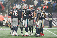 FOXBOROUGH, MA - NOVEMBER 24: New England Patriots Quarterback Tom Brady #12 talks to the office before a play during a game between Dallas Cowboys and New England Patriots at Gillettes on November 24, 2019 in Foxborough, Massachusetts.