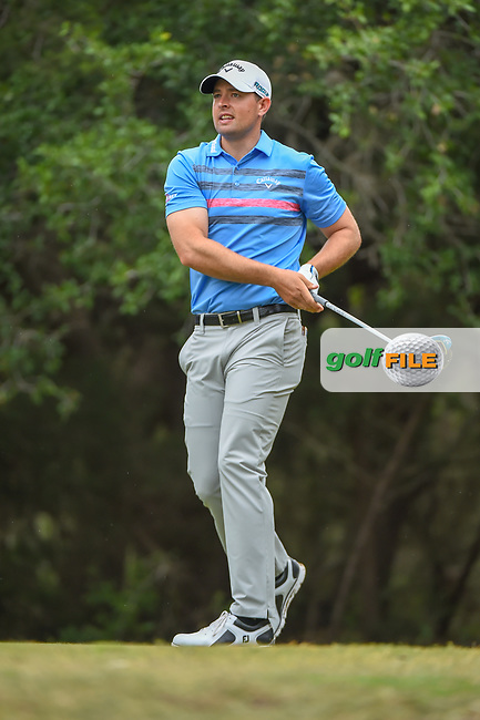 Brandon Harkins (USA) watches his tee shot on 14 during Round 3 of the Valero Texas Open, AT&T Oaks Course, TPC San Antonio, San Antonio, Texas, USA. 4/21/2018.<br /> Picture: Golffile | Ken Murray<br /> <br /> <br /> All photo usage must carry mandatory copyright credit (© Golffile | Ken Murray)