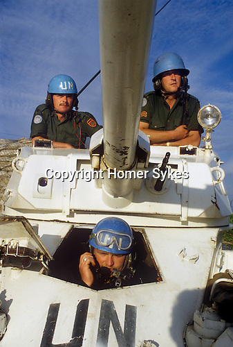 Irish UN United Nations soldiers on tour of duty in southern Lebanon 1980s. The Irish soldiers were part of United Nations Interim Force UNIFIL in Lebanon