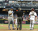 Yu Darvish (Rangers), MAY 27, 2013 - MLB : Texas Rangers' Yu Darvish (C) argues the count with home plate umpire Vic Carapazza (L) after being called out on a third bunt attempt during the third inning of the MLB game between the Arizona Diamondbacks and the Texas Rangers in Phoenix, Arizona, United States. (Photo by AFLO)