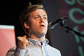 Journalist Owen Jones.  Grassroots for Jeremy. 1500 people attend a rally in support of Jeremy Corbyn for Labour Leader. Camden Centre, London.