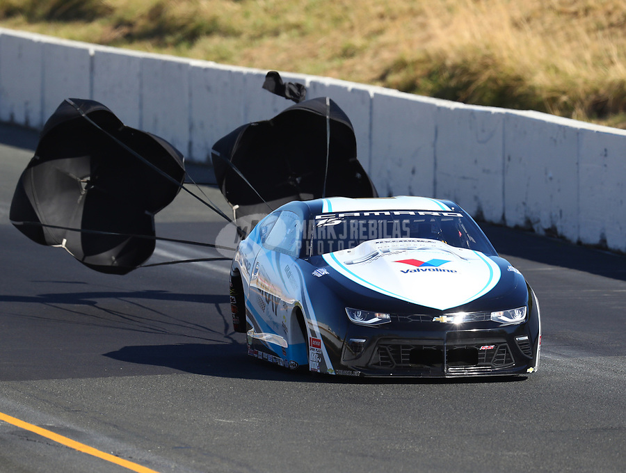 Jul 29, 2017; Sonoma, CA, USA; NHRA pro stock driver Tanner Gray during qualifying for the Sonoma Nationals at Sonoma Raceway. Mandatory Credit: Mark J. Rebilas-USA TODAY Sports
