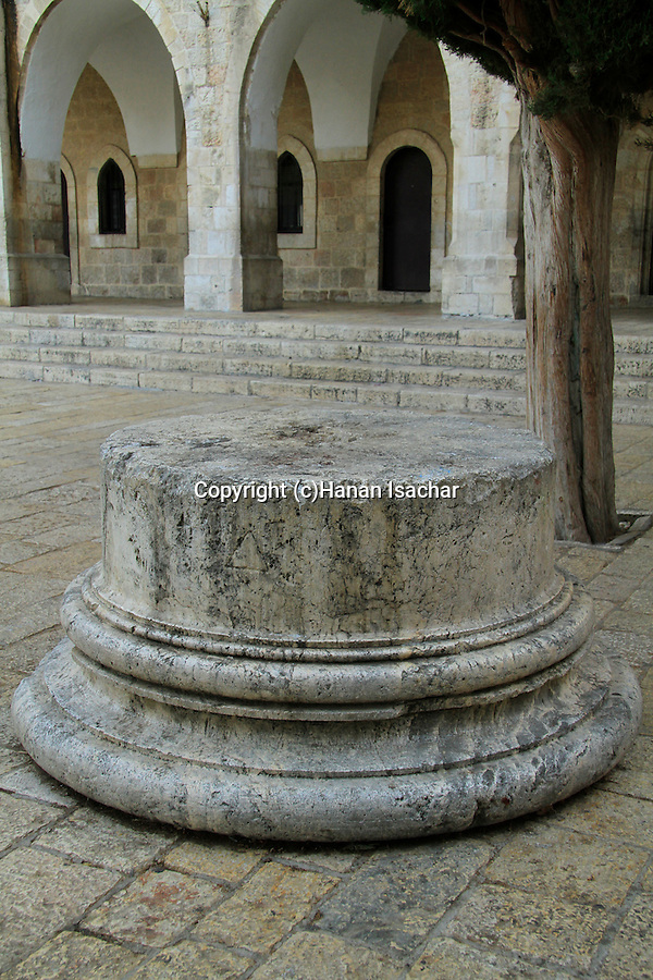 Jerusalem Old City, a column base found in the ruins of the Byzantine Nea Church