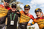 Phil Bauhaus (GER) Bahrain-Mclaren wins Stage 3 of the Saudi Tour 2020, pictured with team mates Marcel Sieberg (GER) and Heinrich Haussler (AUS) running 119km from King Saud University to Al Bujairi, Saudi Arabia. 6th February 2020. <br /> Picture: ASO/Kåre Dehlie Thorstad | Cyclefile<br /> All photos usage must carry mandatory copyright credit (© Cyclefile | ASO/Kåre Dehlie Thorstad)