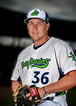 13 June 2018: Vermont Lake Monsters pitcher Slater Lee poses for a portrait on Photo Day at Centennial Field in Burlington, Vermont. The Lake Monsters are the Single-A minor league affiliate of the Oakland Athletics, and play a short season in the NY Penn League Stedler Division. Mandatory Credit: Ed Wolfstein Photo *** RAW (NEF) Image File Available ***