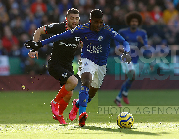 Kelechi Iheanacho of Leicester City is challenged by Mateo Kovacic of Chelsea during the Premier League match at the King Power Stadium, Leicester. Picture date: 1st February 2020. Picture credit should read: Darren Staples/Sportimage