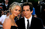 "Actress Christine Taylor and Actor Ben Stiller arrive at the Los Angeles Premiere Of ""Tropic Thunder"" at the Mann's Village Theater on August 11, 2008 in Los Angeles, California."
