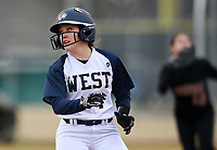 NWA Democrat-Gazette/CHARLIE KAIJO Bentonville West High School Hallie Wacaser (1) runs to third during a softball game, Thursday, March 13, 2019 at Bentonville West High School in Centerton.