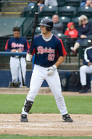 June 1, 2008: Tacoma Rainiers' Jeff Clement at-bat during a Pacific Coast League game against the Salt Lake Bees at Cheney Stadium in Tacoma, Washington.