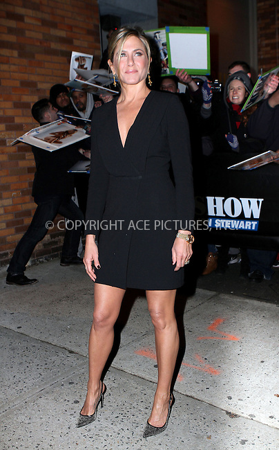 WWW.ACEPIXS.COM<br /> <br /> January 22 2015, New York City<br /> <br /> Actress Jennifer Aniston made an appearance at 'The Daily Show with Jon Stewart' on January 22 2015 in New York City<br /> <br /> By Line: Nancy Rivera/ACE Pictures<br /> <br /> <br /> ACE Pictures, Inc.<br /> tel: 646 769 0430<br /> Email: info@acepixs.com<br /> www.acepixs.com
