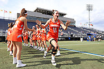 DURHAM, NC - FEBRUARY 16: Campbell's Annie Pazulski (11). The Duke University Blue Devils hosted the Campbell University Camels on February 16, 2018, at Koskinen Stadium in Durham, NC in women's college lacrosse match. Duke won the game 18-8.