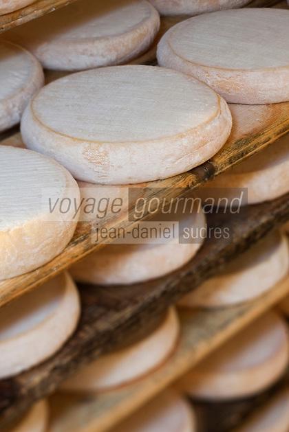 Europe/France/Rhône-Alpes/74/Haute-Savoie/La Clusaz: Affinage des reblochon-fermier de  Marie-Louise Donzel à l'alpage de Corbassière