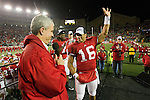 Matt Lepay introduces Wisconsin Badgers quarterback Russell Wilson after an NCAA Big Ten Conference college football game against the Penn State Nittany Lions on November 26, 2011 in Madison, Wisconsin. The Badgers won 45-7. (Photo by David Stluka)