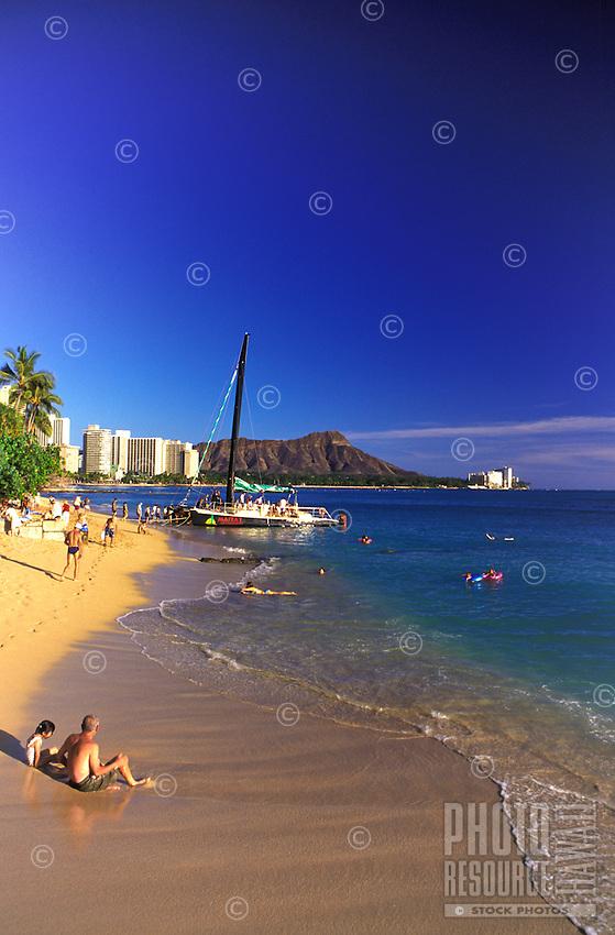 Scenic Diamond Head Crater and Beautiful Waikiki Beach.