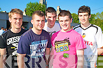 All smiles ahead of their first leaving certificate exam in St Brendan's College, Killarney on Wednesday were Billy Goulding, Eoin O'Mahony, Stephen Carver, Gavin O'Leary and Michael Griffin............