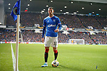 12.12.2019 Rangers v Young Boys Bern: Missiles land at the feet of Borna Barisic as he prepares to take a corner