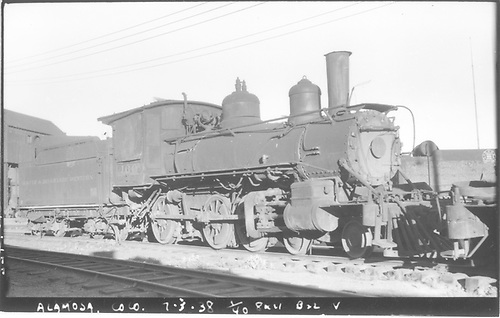 3/4 engineer's-side view of D&amp;RGW #169 in storage at Alamosa.<br /> D&amp;RGW  Alamosa, CO  Taken by Perry, Otto C. - 7/3/1938