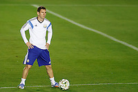 Lionel Messi of Argentina warming up during the training session
