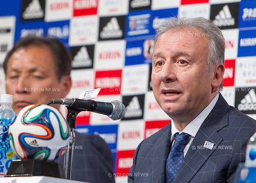 May 12, 2014, Tokyo, Japan - Japan national soccer team head coach Alberto Zaccheroni attends a press conference for the announcement of his 23 member squad for the 2014 FIFA Wolrd Cup in Brazil. (Photo by AFLO)