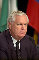 June 25, 2002, Montreal, Quebec, CANADA<br /> <br /> Robert Brown, (new )President and CEO, Bombardier<br /> speak on Economy and the Challenge of Governance,<br />  during the 9th Conference of Montreal, June 25, 2002 in Montreal, CANADA<br /> <br /> Earlier that day, Brown met with German Chancellor Schroder, during his visit to Bombardier jet building faciliies in Montreal.<br /> <br /> <br /> <br /> <br /> Mandatory credit : Photo by Pierre Roussel - Images Distribution<br /> (c) : 2002,Pierre Roussel