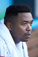 Eloy Jimenez (16) of the Charlotte Knights during the game against the Toledo Mud Hens at BB&T BallPark on June 22, 2018 in Charlotte, North Carolina. The Mud Hens defeated the Knights 4-0.  (Brian Westerholt/Four Seam Images)