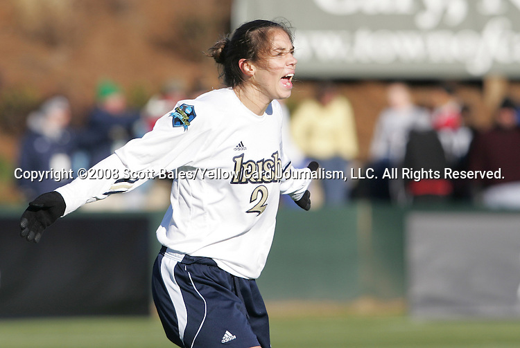 07 December 2008: Notre Dame's Kerri Hanks complains to the referee over a call. The University of North Carolina Tar Heels defeated the Notre Dame Fighting Irish 2-1 at WakeMed Soccer Park in Cary, NC in the championship game of the 2008 NCAA Division I Women's College Cup.