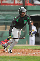 Dayton Dragons right fielder Michael Beltre (36) follows through on his swing against the Burlington Bees at Community Field on May 3, 2018 in Burlington, Iowa.  (Dennis Hubbard/Four Seam Images)