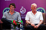 HAIKOU, CHINA - OCTOBER 27:  (L-R) Multiple Olympic gold medalist Michael Phelps of USA and golf legend Greg Norman of Australia attend the opening press conference of the Mission Hills Star Trophy on October 27, 2010 in Haikou, China. The Mission Hills Star Trophy is Asia's leading leisure liflestyle event and features Hollywood celebrities and international golf stars. Photo by Victor Fraile / The Power of Sport Images