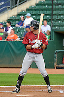Roman Collins (25) of the Idaho Falls Chukars at bat against the Ogden Raptors in Pioneer League action at Lindquist Field on August 26, 2015 in Ogden, Utah. Ogden defeated the Chukars 5-1. (Stephen Smith/Four Seam Images)
