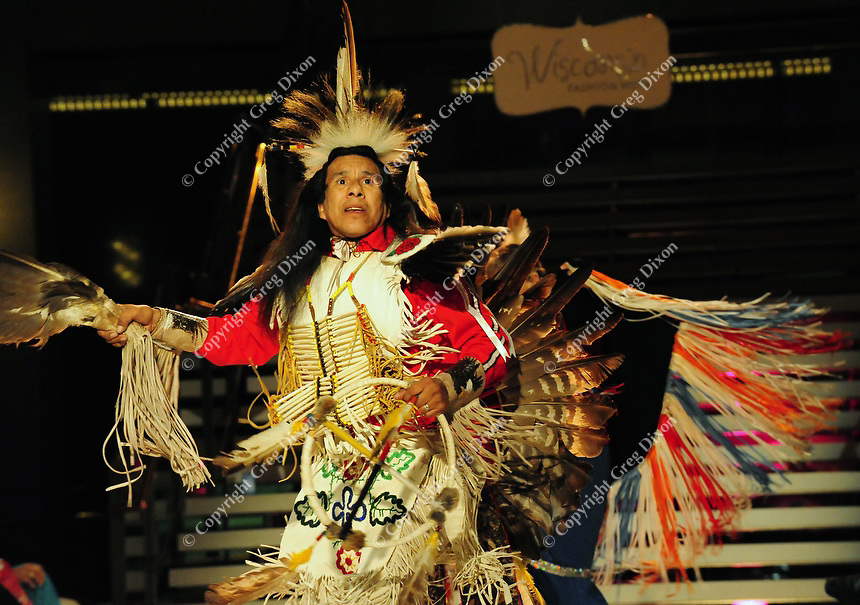 Native American dancers open the fashion exhibition of J. LaMore at Wisconsin Fashion Week at the Overture Center