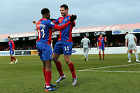 Daniel Sparkes of Dagenham is congratulated after scoring the opening Daggers goal during Dagenham & Redbridge vs Hartlepool United, Vanarama National League Football at the Chigwell Construction Stadium on 6th January 2018