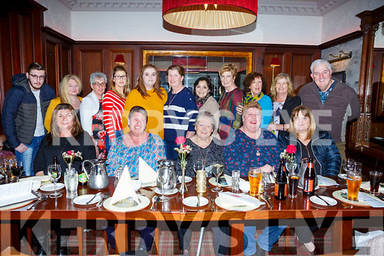 Seated l-r, Mary Carroll (Ballyheigue), Geraldine Stack (Abbeydorney),  Kathleen Stack (Lixnaw), Bernadette O'Sullivan (Abbeydorney) and Helen Horan (Kilmoyley) celebrating 5 birthdays with their family and friends in the Grand Hotel, Tralee on Saturday night last.