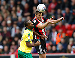 Jack O'Connell of Sheffield Utd gets above Cameron Jerome of Norwich City during the Championship match at Bramall Lane Stadium, Sheffield. Picture date 16th September 2017. Picture credit should read: Simon Bellis/Sportimage