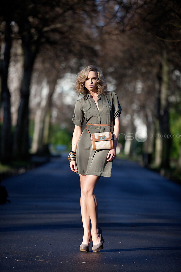 NO REPRO FEE. 1/2/2011. A|WEAR LAUNCHES SPRING 2011.  Sarah Morrissey and Isabelle Traber model a selection looks from A|wear's spring '11 collection at  St Stephens Green, Dublin. Sarah wears Luxe utility shirt dress - EUR45 and Cross body bag - EUR22. The collection is available now instore and on www.awear.com from this week. Picture James Horan/Collins Photos