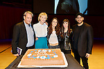 MIAMI, FL - FEBRUARY 21: Author Paul Auster, Siri Hustvedt, Singer Sophie Auster, Brittany Anjou and Magicians David Blaine and pose for picture onstage after reading from his book during A Evening with Paul Auster & friends! MUSIC, MAGIC & THE MUSE: for his latest novel, '4 3 2 1' features Singer Sophie Auster and Magicians David Blaine at Adrienne Arsht Center - Knight Concert Hall on February 21, 2017 in Miami, Florida. ( Photo by Johnny Louis / jlnphotography.com )