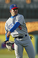Vince Sinisi of the Stockton Ports throws before a 2004 season California League game against the High Desert Mavericks at Mavericks Stadium in Adelanto, California. (Larry Goren/Four Seam Images)
