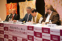"""April 24, 2013, Tokyo, Japan - (L to R) The organizer of KYOMAF Takayuki Mastutani, the Mayor of Kyoto Daisaku Kadokawa and the represent of Japan EXPO (in France) Thomas Sirdey sign documents in the press conference of """"Kyoto international Manga Anime Fair 2013"""" at Kabukiza Tower in Tokyo. In the press conference the organizers of KYOMAF, Mayor of Kyoto and Japan EXPO (in France) signed a document to collaborate together to promote the anime and manga culture in Europe and United States. The KYOMAF is the largest manga/anime fair in West Japan and will be free entrance for elementary school students and foreigners with passport. It will be held from September 6 to 8 at Miyako Messe, Kyoto. (Photo by Rodrigo Reyes Marin/AFLO).."""