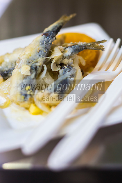 Italie, Vénétie, Venise:   Restaurant: Lino Fritto, Campo de le Becarie, sardines marinées et abricot  // Italy, Veneto, Venice:
