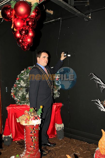 Mayor Kevin Callan at Funtasia, Donore Road Industrial Estate, Drogheda turning on the lights at the official opening of the  Winter Wonderland display on Friday 5th December 2014.<br /> Picture:  Thos Caffrey / www.newsfile.ie