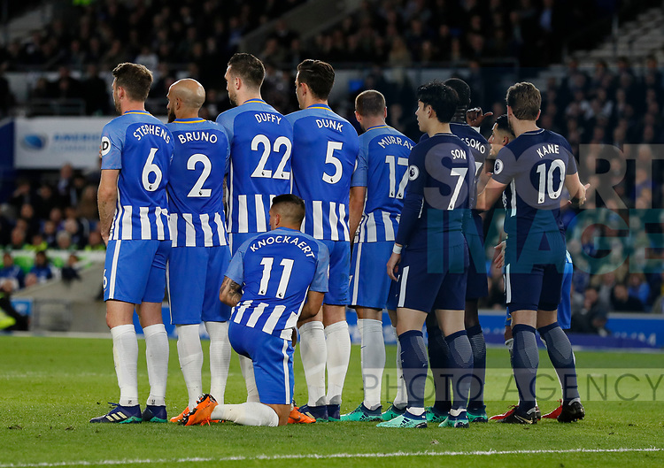 Anthony Kockaert of Brighton kneels down in the wall during the premier league match at the Amex Stadium, London. Picture date 17th April 2018. Picture credit should read: David Klein/Sportimage
