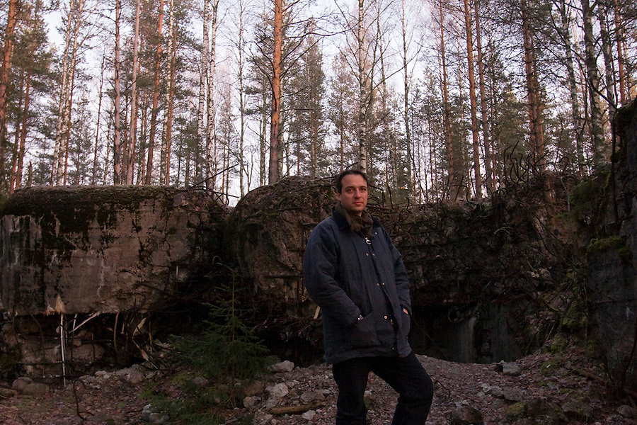 Kamenka, Karelia, Russia, 14/12/2007..Journalist Nick Holdsworth at the Mannerheim Line, the old defensive network of skilfully hidden Finnish bunkers that were breached by the Soviet Army's 138th Guards on Sunday February 11 1940..
